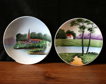 Vintage decorative plates hanging wall plates handpainted plates landscapes wall decor river church