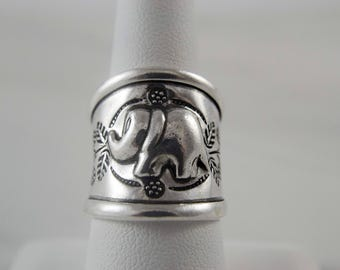 Sterling Silver Ring for Women, Sterling Silver Ring Band, Elephant Ring, Boho Ring, Unique Silver Ring for Her, Adjustable Silver Ring