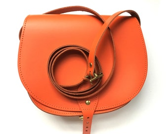 Orange Leather Saddle Bag  - Handmade in UK
