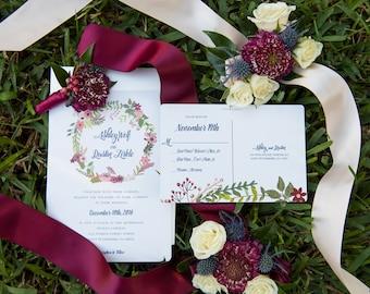 Boho Wedding Invitation, Wreath Wedding Invitation, Rustic Wedding Invitation, Spring Wedding Wedding Invitation, Printable Wedding Invite