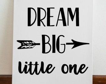 "Nursery Decor Kids Room ""Dream Big Little One"" Canvas Art Wall Art Kids Room Decor"