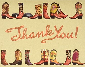 18 Boxed Cowboy Boots Western Thank You Card - Folded 4.25x5.5 Note Cards - 14067