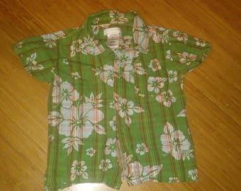 vintage inspired green floral~Toddler kids Hawaiian Shirt Tiki