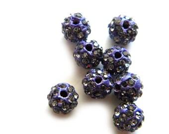 10 Cobalt Blue Rhinestone Disco Ball Beads 8mm