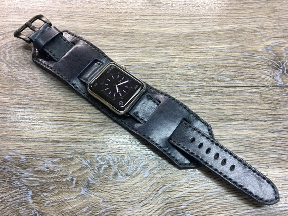 Apple Watch Band | Apple Watch Strap | Dark Blue Vintage Leather Apple Watch Cuff Band For Apple Watch 42mm - Series 1 & Series 2 - Handmade