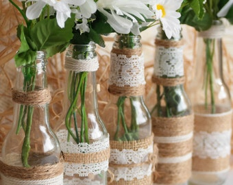 Rustic Burlap Bottles, Rustic Centerpiece, Rustic Wedding, Rustic Home Decor, Country Chic Rustic Wedding Set, SET of 5
