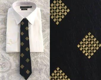 Vintage Necktie, Willie Smith Toronto, 1960s Necktie, 1960s Tie, Black and Gold Tie, Mens Tie