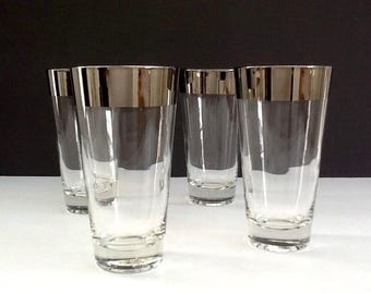 Mid Century Silver Band Tumblers, Set of 4, Silver Trim Highball Glasses, Retro Barware