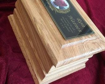 Solid oak wood Cremation ashes casket / Funeral / Adult / Urn / Personalised