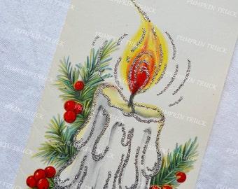 Vintage Christmas Card - 1950s Glitter Burning Candle - Unused