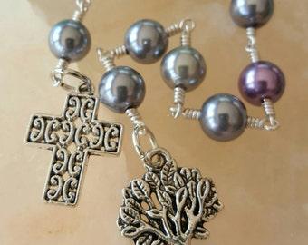 Purple and Grey Celtic Pocket Rosary