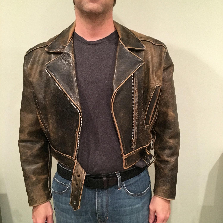 Vintage des ann es 80 en cuir veste homme 40 m cuir marron - Veste annee 80 ...