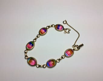 Rainbow Glass SARAH COV Gold Tone Link Bracelet with Safety Chain