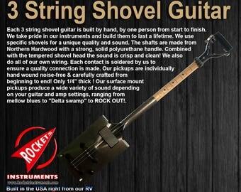 3 string shovel guitar, Electric Shovel Guitars!  Custom made, cigar box guitars and djembe drums coming soon!