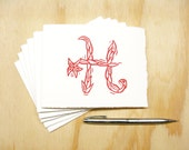 Letter H Stationery - Choose Your Color - Personalized Gift - Set of 6 Block Printed Cards - Made To Order