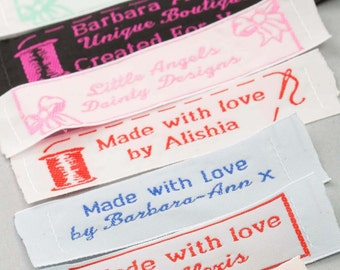 One Inch Wide Woven Garment Labels great for Small Business or Craft & Hobby - Up to 3 lines of text and choice of motifs