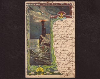 Lighthouse at night, German art nouveau postcard - Edwardian lithograph, marine, antique postcard, vintage greeting card - 1903 (V4-58)