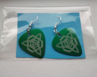 Green Celtic Plectrum Earrings