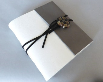 White & Grey Leather Journal