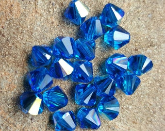 Swarovski 6mm Bicone Faceted Crystal Beads - CAPRI BLUE AB - 10, 20 or 50