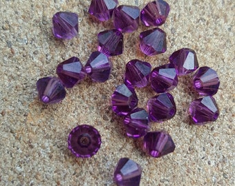 Swarovski 4mm Bicone Faceted Crystal Beads - AMETHYST - Select 10, 20, 50 or 100