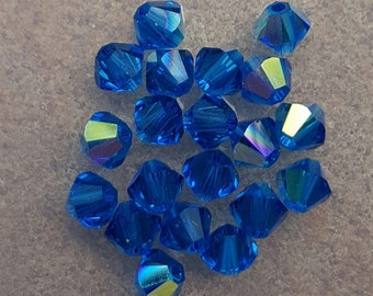 Swarovski 4mm Bicone Faceted Crystal Beads - CAPRI BLUE AB x 20 Beads
