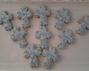 Baptism, !st Communion, Confirmation Blue Cross Cookie Gift