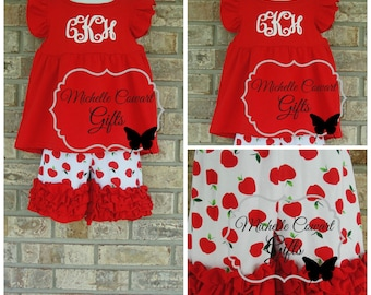 Back to School, School Outfit, Shorties Set, 9M, 12M, 18M, 2T, 3T, 4, 5, 6, 7, 8, RTS, Apples, Monogram Short Outfit, Girls Toddler Applies