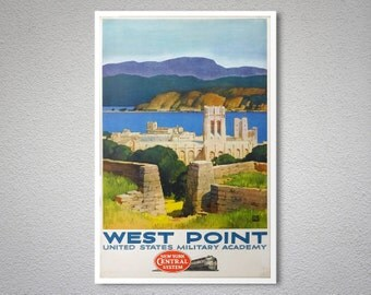 West Point United States Military Academy Vintage Travel Poster - Poster Print, Sticker or Canvas Print / Christmas Gift