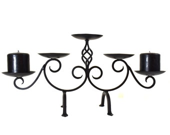 Vintage Iron Blacksmith Candle Holder Stand With Five Plates And Two Legs