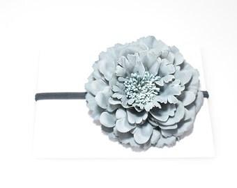 Grey Big Flower Baby Infant Nylon Elastic Headband Newborn Photo Props Baby Girl