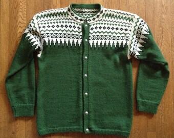 Vintage Loden Green Scandinavian Wool Sweater
