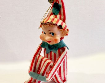 Vintage Elf Knee Hugger, Shelf Sitter, 6 inch Sitting, Red and White striped Flannel Suit, Turned up Nose,  Made in Japan, Circa 1950s