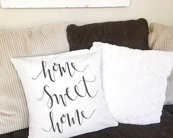 Home Sweet Home Pillow Case/ Farmhouse Pillow/ Grainsack Pillow Case/ Calligraphy Pillow