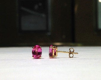 1.50 Carat Genuine Natural Oval Shape Pink Topaz Earrings in 14K Gold WATCH VIDEO