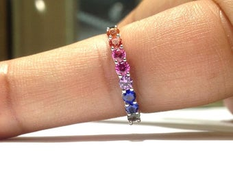 0.75 Carat Rainbow Sapphire Ring in 925 Sterling Silver