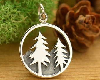 Sterling Silver Pine Tree Mountain Charm