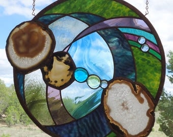 "stained glass window hanging"" WINTER SOLSTICE"" Brazilian agates, hand poured glass,hand blown glass, glass nuggets, stained glass suncatcher"