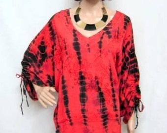 Plus Size Boho Tie Dye Floral Kaftan Tunic Top Red 16 18 20 22 24 26 28 30 32