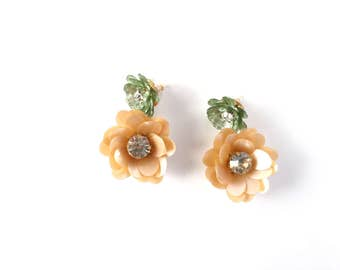 Sequin flower drop earrings - flower earrings - floral earrings - sequin jewelry - bridal accessories - bridesmaids - couture