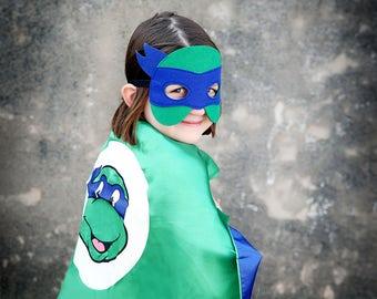 Ninja Turtle Blue Super Hero Cape & Mask -Blue and Green Hero Cape, Super Hero Mask, Ninja Turtle, Girl Cape, Ninja Mask, Teenage Turtle