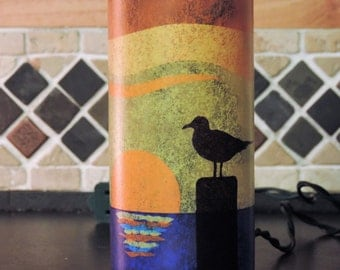 Beach scene - seagull with sunset - handcrafted wine bottle light - tissue paper collage - nightlight