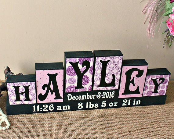 Personalized baby name sign name letter blocks unique baby personalized baby name sign name letter blocks unique baby gift baby girl nursery decor baby name decor name sign 6 letters first name negle Images