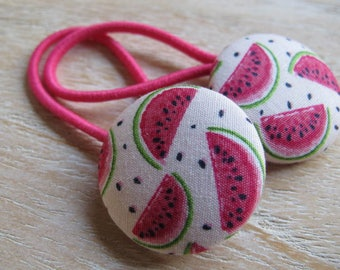 Fabric Covered Button Hair Elastic – Watermelon  (Set of 2)