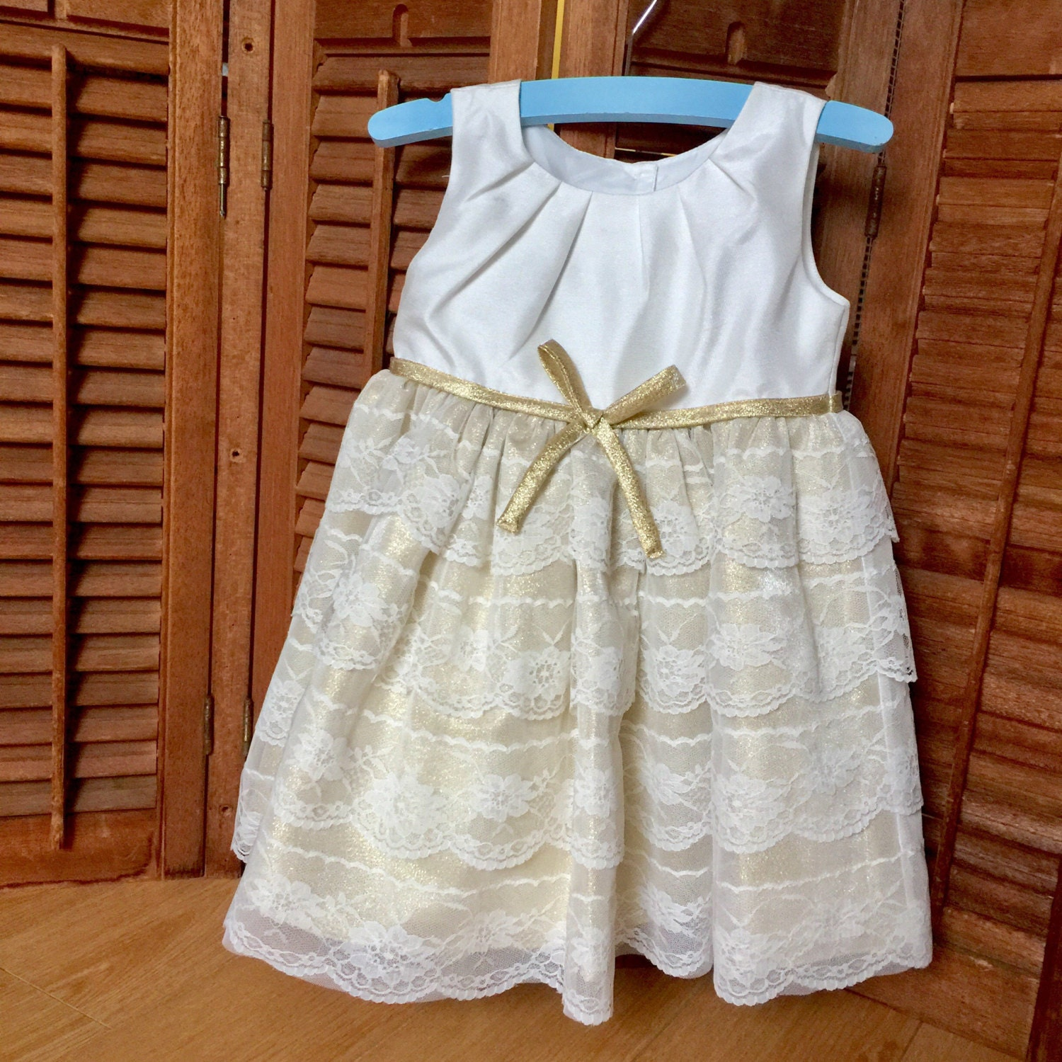 Gold Shimmery Lace Baby Dress Baptism Gown Toddler White Flower Girl