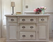 Rustic Victorian Painted Country Solid Pine Sideboard Dresser Freestanding Kitchen Cabinet Unit Grey