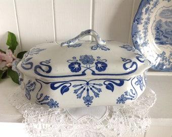 Antique Tureen Serving Dish Blue and White B W M & Co. English Pottery Art Nouveau