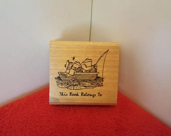 Vintage, rubber stamp, this book belongs to, fishing frogs rubber stamp, 1987 Arnold Lobelia for kidstamps
