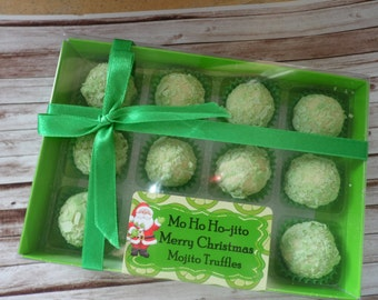 Mo Ho Ho-jito Merry Christmas - Novelty Gift 6/8/12 Mojito Chocolate Truffles - Personalised Gift