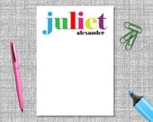 Personalised Notepad - Colourful Name Notepad / Personalized Magnetic Notepad /  Personalised Paper Goods / Stationery / Notepad